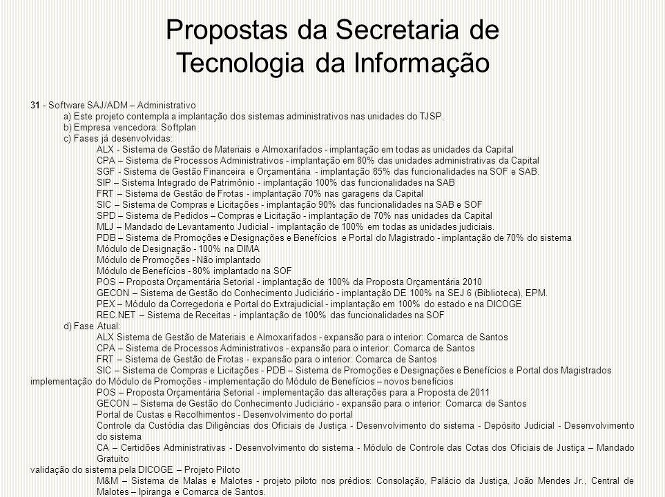 31 - Software SAJ/ADM – Administrativo a) Este projeto contempla a implantação dos sistemas administrativos nas unidades do TJSP. b) Empresa vencedora
