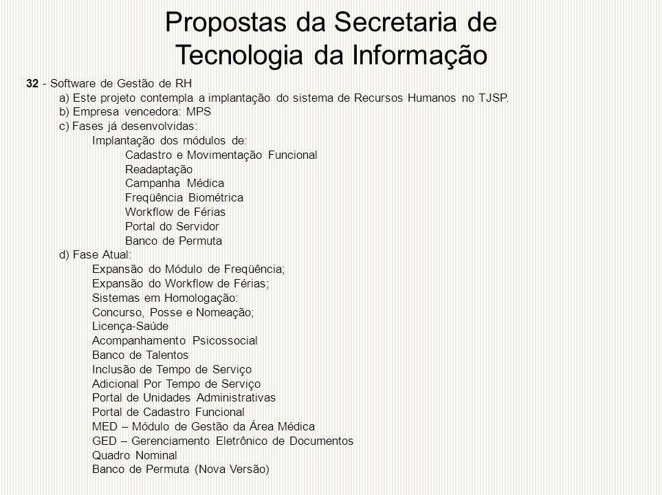 32 - Software de Gestão de RH a) Este projeto contempla a implantação do sistema de Recursos Humanos no TJSP. b) Empresa vencedora: MPS c) Fases já de
