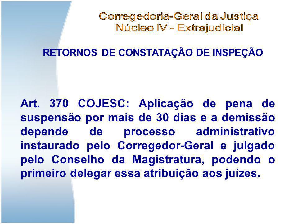 RETORNOS DE CONSTATAÇÃO DE INSPEÇÃO Art. 370 COJESC: Aplicação de pena de suspensão por mais de 30 dias e a demissão depende de processo administrativ