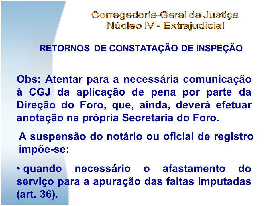 RETORNOS DE CONSTATAÇÃO DE INSPEÇÃO Obs: Atentar para a necessária comunicação à CGJ da aplicação de pena por parte da Direção do Foro, que, ainda, de