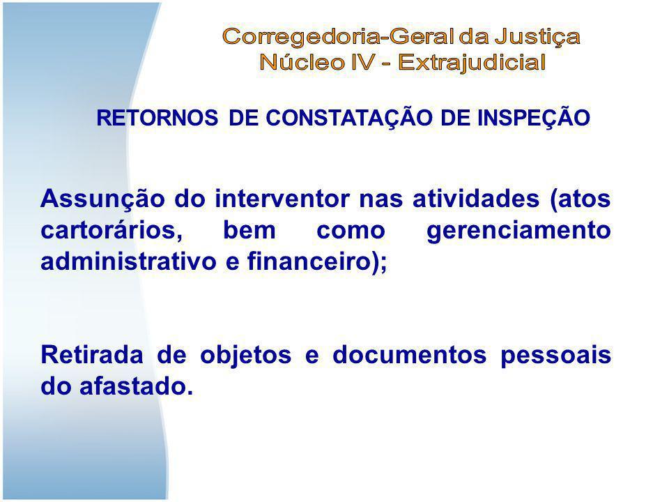 RETORNOS DE CONSTATAÇÃO DE INSPEÇÃO Assunção do interventor nas atividades (atos cartorários, bem como gerenciamento administrativo e financeiro); Ret