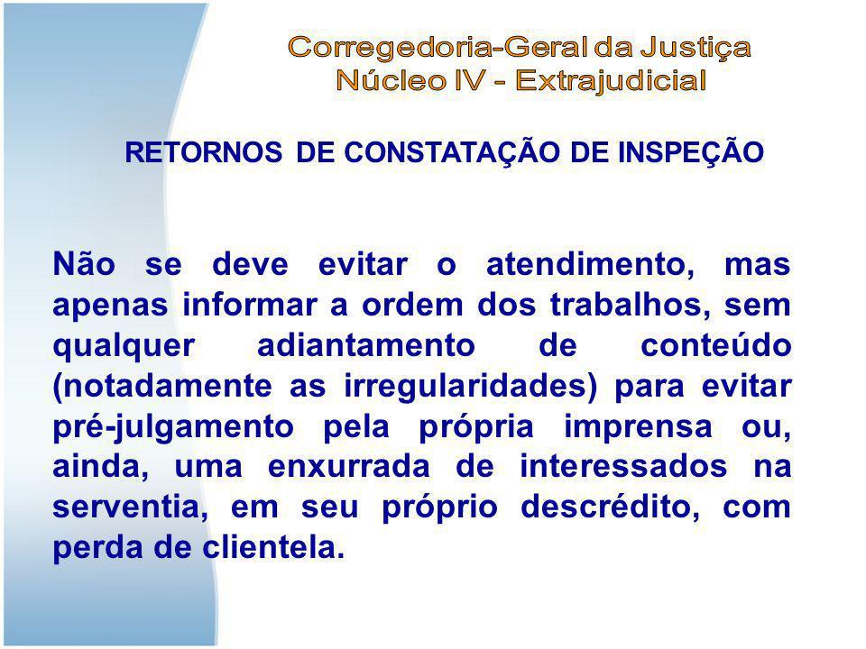 RETORNOS DE CONSTATAÇÃO DE INSPEÇÃO Não se deve evitar o atendimento, mas apenas informar a ordem dos trabalhos, sem qualquer adiantamento de conteúdo