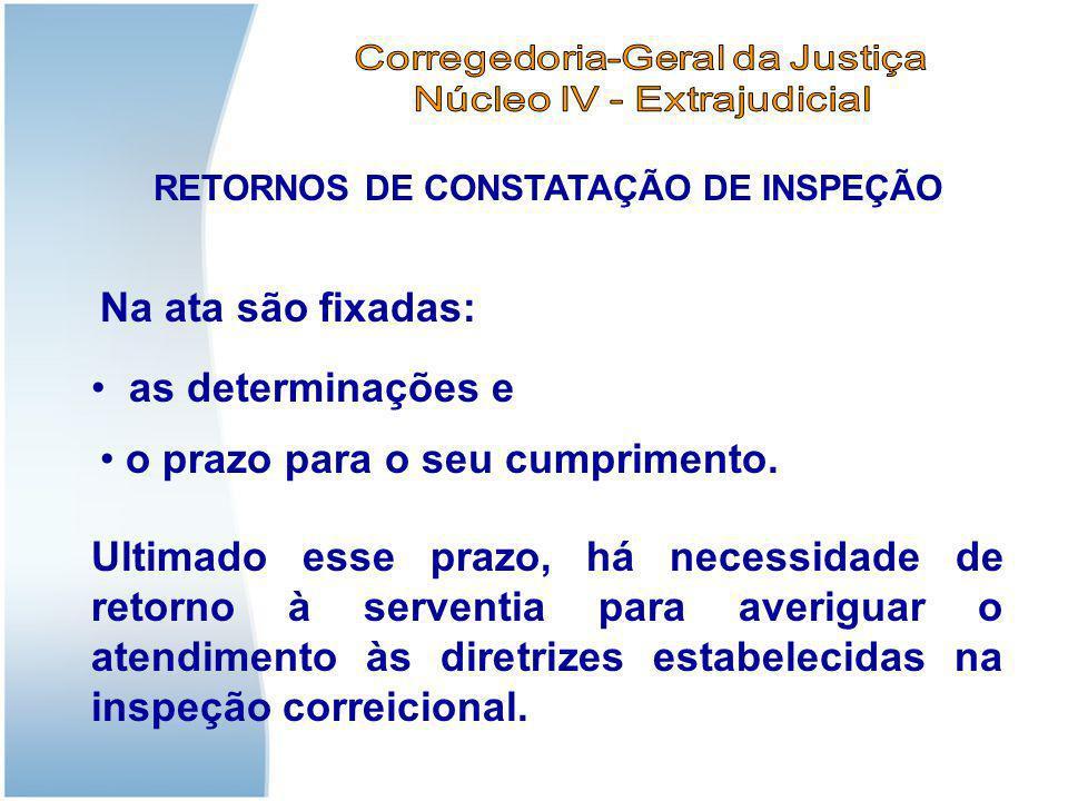RETORNOS DE CONSTATAÇÃO DE INSPEÇÃO O RETORNO É fundamental para o desfecho da inspeção, seja para constatar a efetiva correção das irregularidades,ou definir a apuração de eventual responsabilidade do oficial.