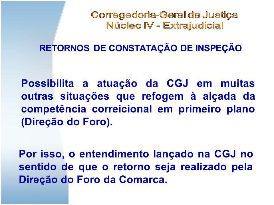RETORNOS DE CONSTATAÇÃO DE INSPEÇÃO Possibilita a atuação da CGJ em muitas outras situações que refogem à alçada da competência correicional em primei