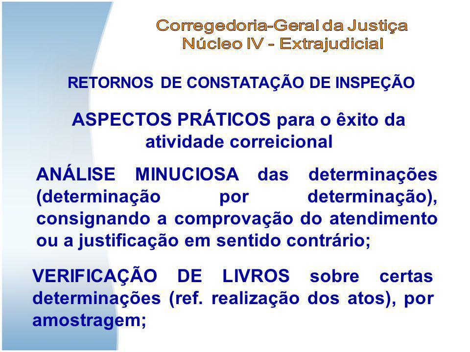 RETORNOS DE CONSTATAÇÃO DE INSPEÇÃO Aspectos práticos: Citação e intimação da decisão de afastamento, com cópia da Portaria (firmada pelo Exmo.