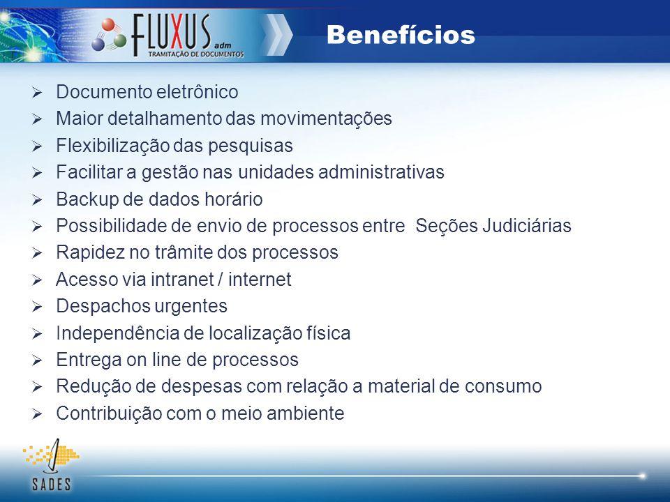 Documento eletrônico Maior detalhamento das movimentações Flexibilização das pesquisas Facilitar a gestão nas unidades administrativas Backup de dados