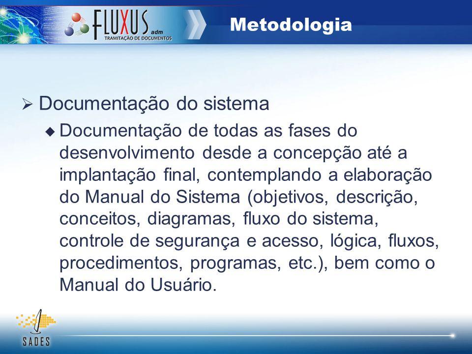 Documentação do sistema Documentação de todas as fases do desenvolvimento desde a concepção até a implantação final, contemplando a elaboração do Manu