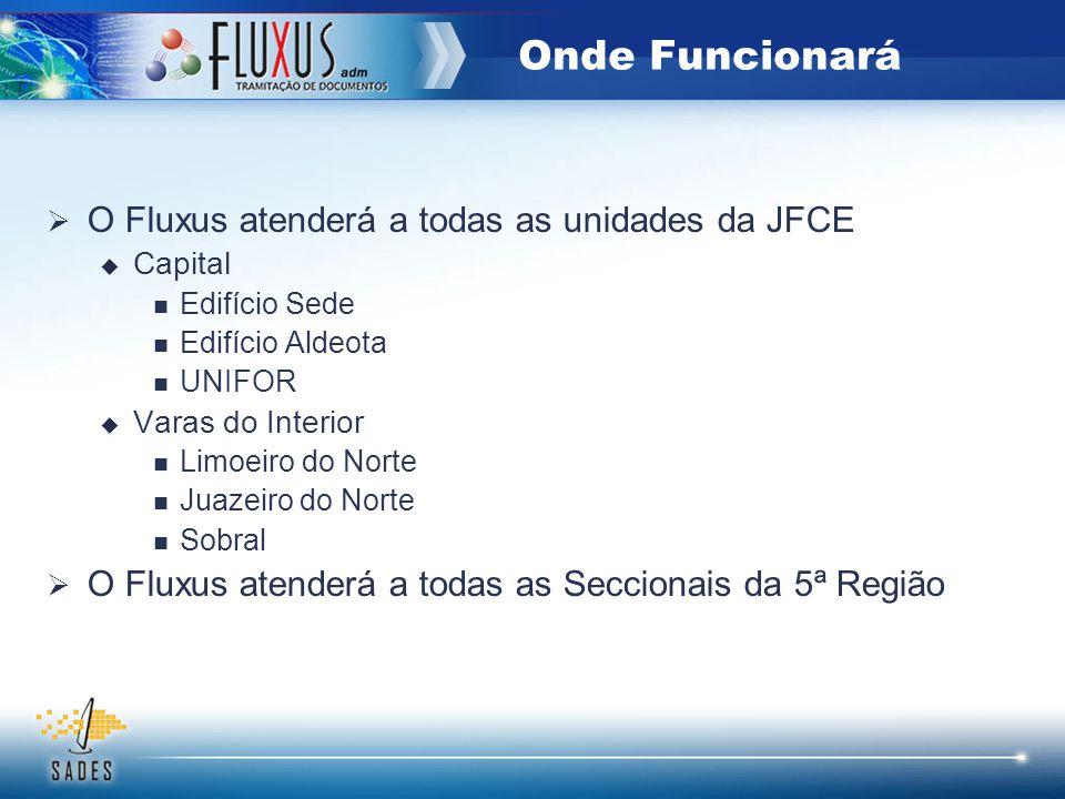 O Fluxus atenderá a todas as unidades da JFCE Capital Edifício Sede Edifício Aldeota UNIFOR Varas do Interior Limoeiro do Norte Juazeiro do Norte Sobr