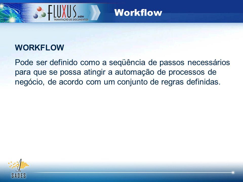 Workflow WORKFLOW Pode ser definido como a seqüência de passos necessários para que se possa atingir a automação de processos de negócio, de acordo co