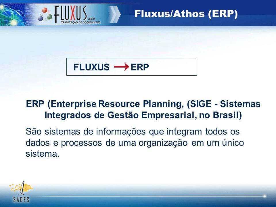 Fluxus/Athos (ERP) ERP (Enterprise Resource Planning, (SIGE - Sistemas Integrados de Gestão Empresarial, no Brasil) São sistemas de informações que in