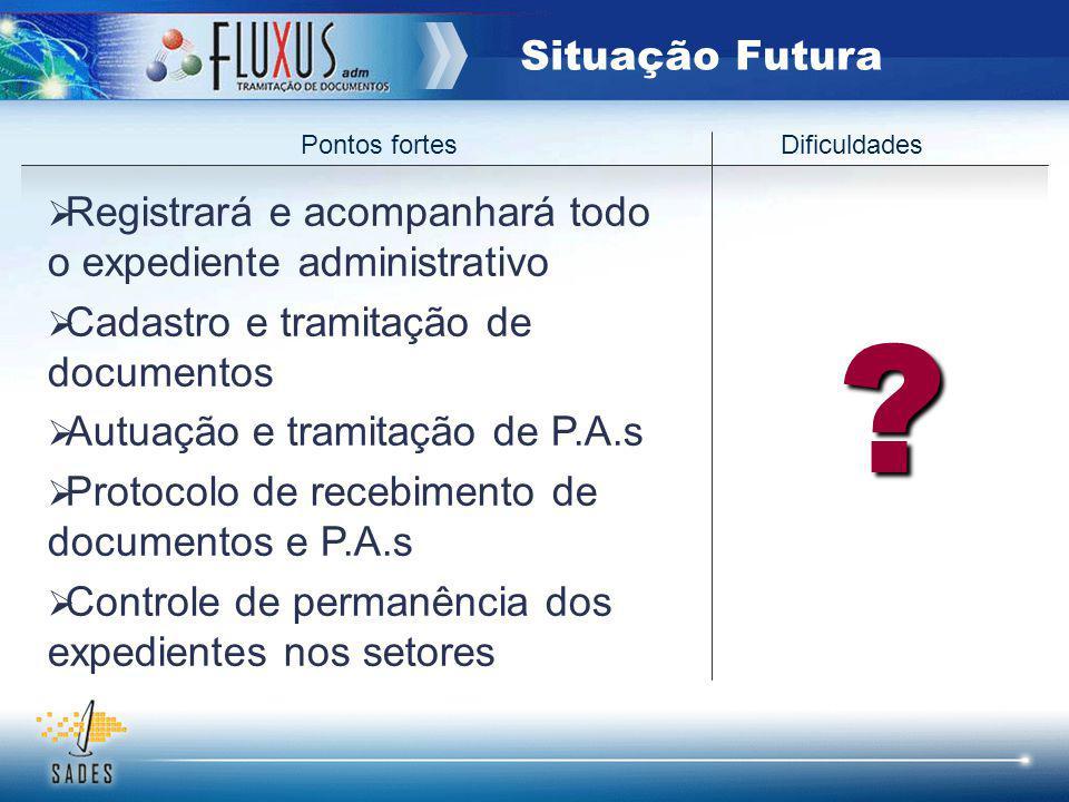 Pontos fortes Dificuldades ? Registrará e acompanhará todo o expediente administrativo Cadastro e tramitação de documentos Autuação e tramitação de P.