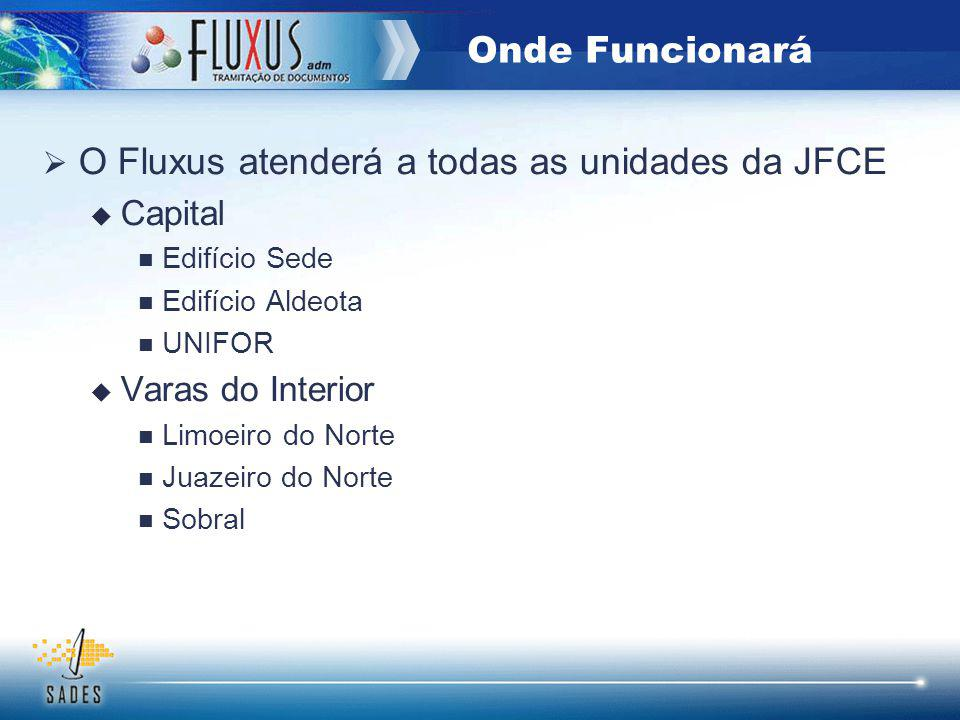 O Fluxus atenderá a todas as unidades da JFCE Capital Edifício Sede Edifício Aldeota UNIFOR Varas do Interior Limoeiro do Norte Juazeiro do Norte Sobral Onde Funcionará