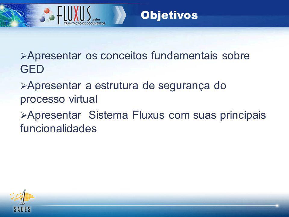 Apresentar os conceitos fundamentais sobre GED Apresentar a estrutura de segurança do processo virtual Apresentar Sistema Fluxus com suas principais f