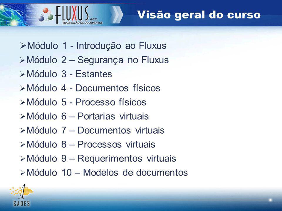 Módulo 1 - Introdução ao Fluxus Módulo 2 – Segurança no Fluxus Módulo 3 - Estantes Módulo 4 - Documentos físicos Módulo 5 - Processo físicos Módulo 6