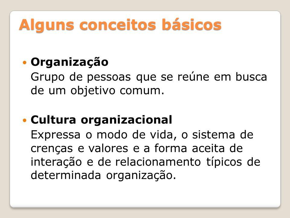 Alguns conceitos básicos Organização Grupo de pessoas que se reúne em busca de um objetivo comum. Cultura organizacional Expressa o modo de vida, o si