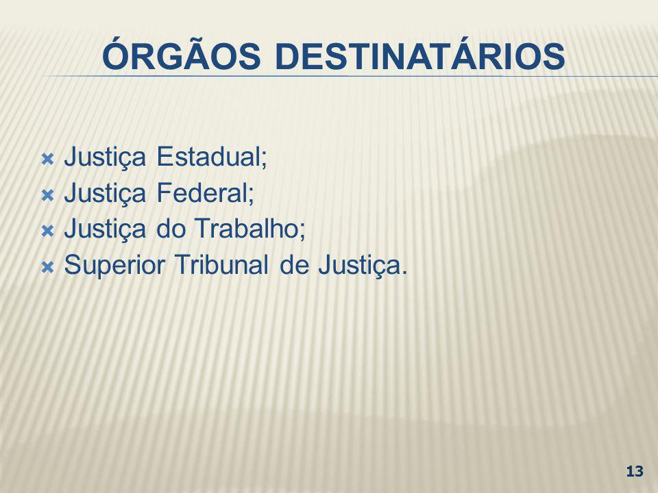 ÓRGÃOS DESTINATÁRIOS Justiça Estadual; Justiça Federal; Justiça do Trabalho; Superior Tribunal de Justiça. 13
