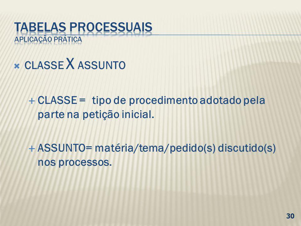 CLASSE X ASSUNTO CLASSE = tipo de procedimento adotado pela parte na petição inicial. ASSUNTO= matéria/tema/pedido(s) discutido(s) nos processos. 30