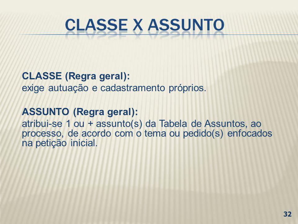 32 CLASSE (Regra geral): exige autuação e cadastramento próprios. ASSUNTO (Regra geral): atribui-se 1 ou + assunto(s) da Tabela de Assuntos, ao proces