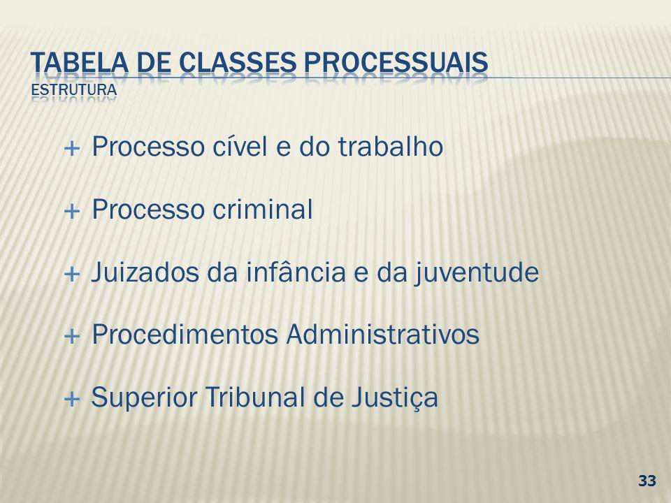 Processo cível e do trabalho Processo criminal Juizados da infância e da juventude Procedimentos Administrativos Superior Tribunal de Justiça 33