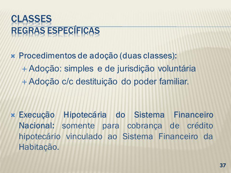 Procedimentos de adoção (duas classes): Adoção: simples e de jurisdição voluntária Adoção c/c destituição do poder familiar. Execução Hipotecária do S
