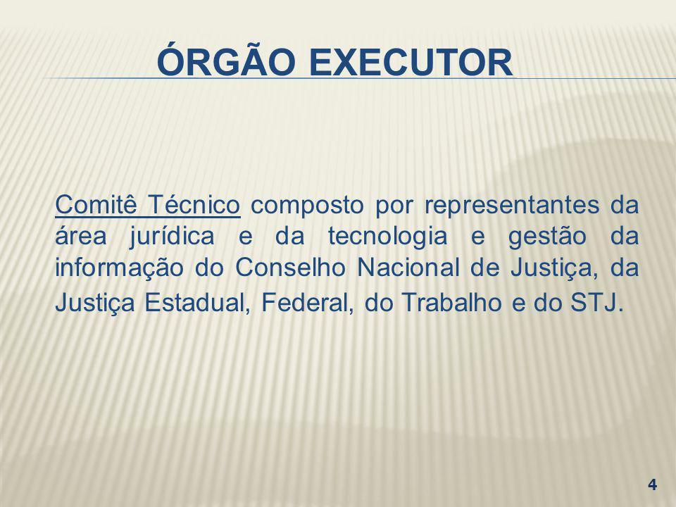 ÓRGÃO EXECUTOR Comitê Técnico composto por representantes da área jurídica e da tecnologia e gestão da informação do Conselho Nacional de Justiça, da