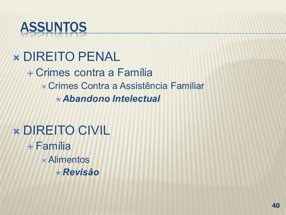 DIREITO PENAL Crimes contra a Família Crimes Contra a Assistência Familiar Abandono Intelectual DIREITO CIVIL Família Alimentos Revisão 40