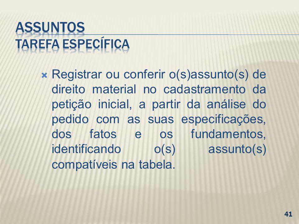 Registrar ou conferir o(s)assunto(s) de direito material no cadastramento da petição inicial, a partir da análise do pedido com as suas especificações