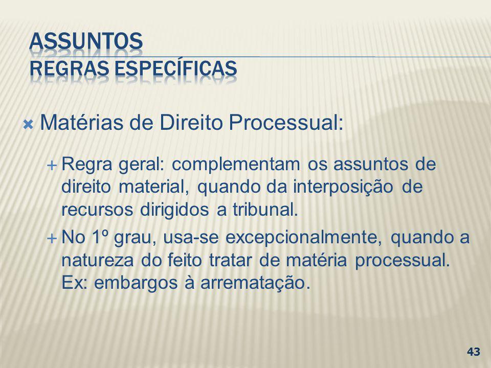 Matérias de Direito Processual: Regra geral: complementam os assuntos de direito material, quando da interposição de recursos dirigidos a tribunal. No
