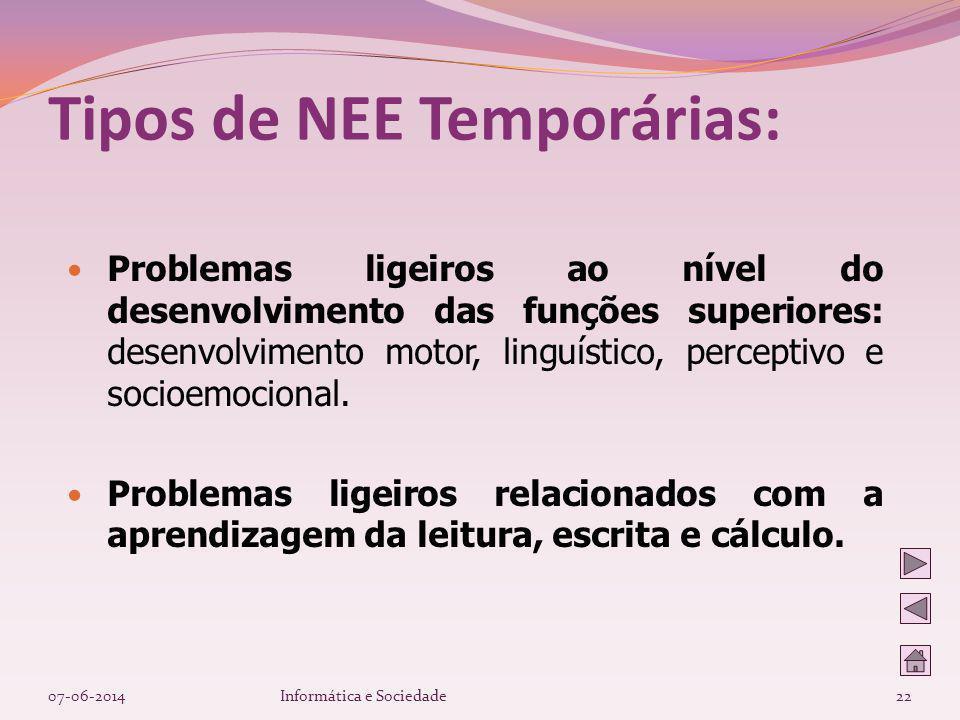 Problemas ligeiros ao nível do desenvolvimento das funções superiores: desenvolvimento motor, linguístico, perceptivo e socioemocional. Problemas lige