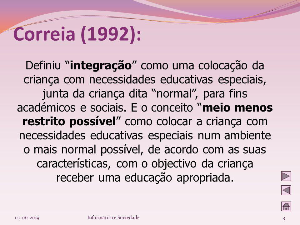 Definiu integração como uma colocação da criança com necessidades educativas especiais, junta da criança dita normal, para fins académicos e sociais.