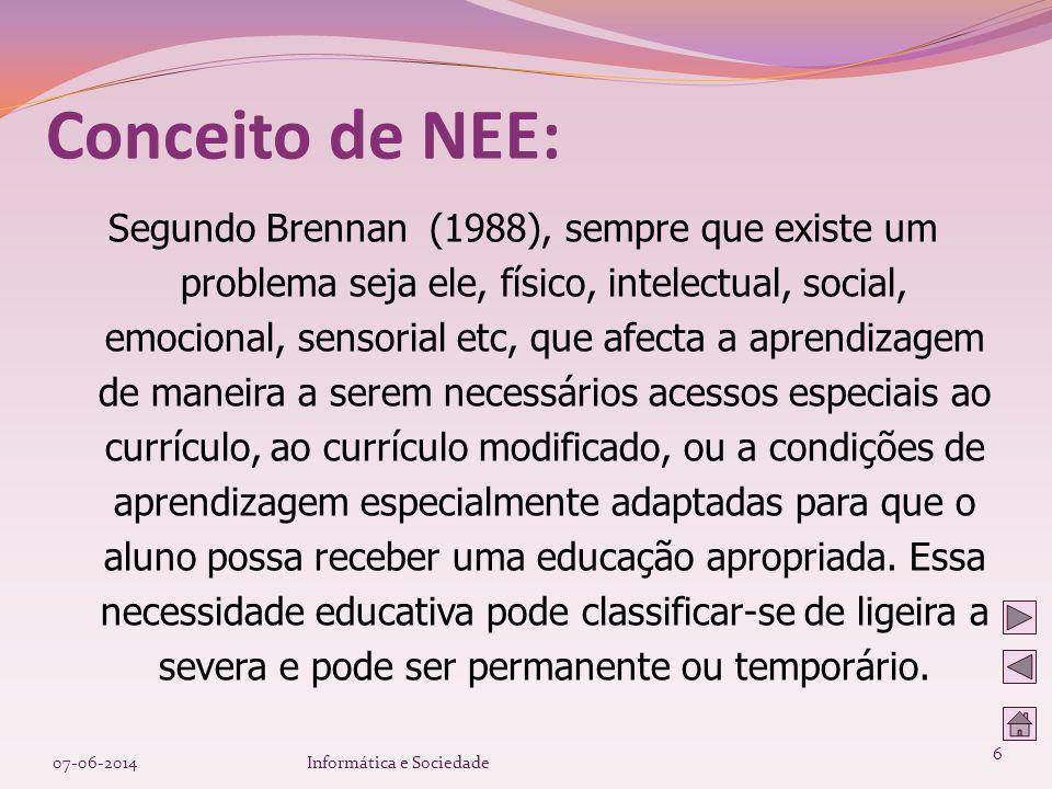 Segundo Brennan (1988), sempre que existe um problema seja ele, físico, intelectual, social, emocional, sensorial etc, que afecta a aprendizagem de ma
