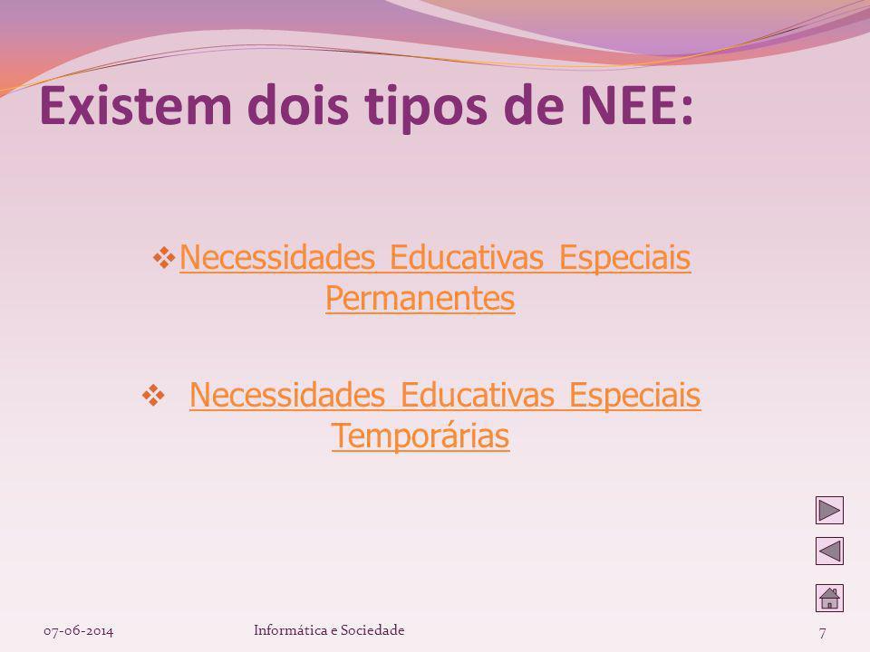 Necessidades Educativas Especiais Permanentes Necessidades Educativas Especiais Permanentes Necessidades Educativas Especiais TemporáriasNecessidades