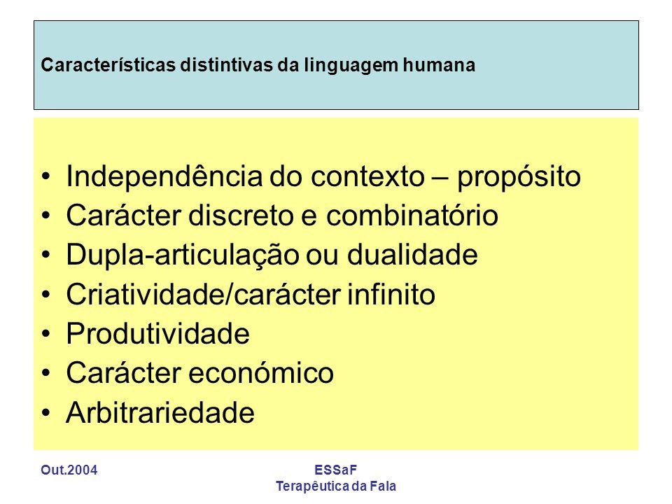 Out.2004ESSaF Terapêutica da Fala Características distintivas da linguagem humana Independência do contexto – propósito Carácter discreto e combinatór