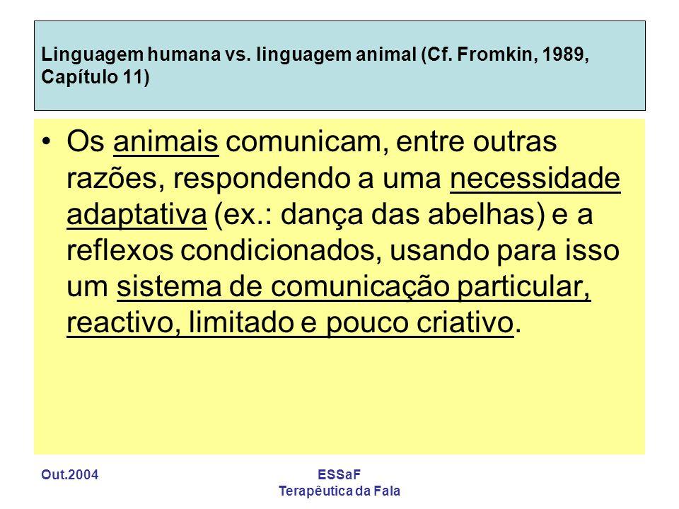 Out.2004ESSaF Terapêutica da Fala Linguagem humana vs. linguagem animal (Cf. Fromkin, 1989, Capítulo 11) Os animais comunicam, entre outras razões, re