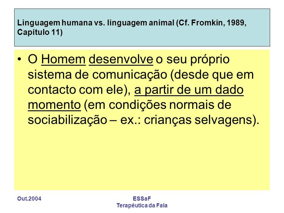 Out.2004ESSaF Terapêutica da Fala Linguagem humana vs. linguagem animal (Cf. Fromkin, 1989, Capítulo 11) O Homem desenvolve o seu próprio sistema de c