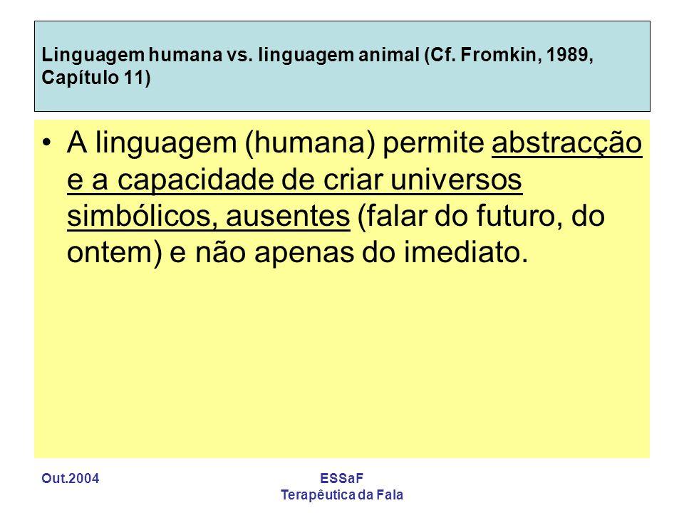 Out.2004ESSaF Terapêutica da Fala Linguagem humana vs. linguagem animal (Cf. Fromkin, 1989, Capítulo 11) A linguagem (humana) permite abstracção e a c