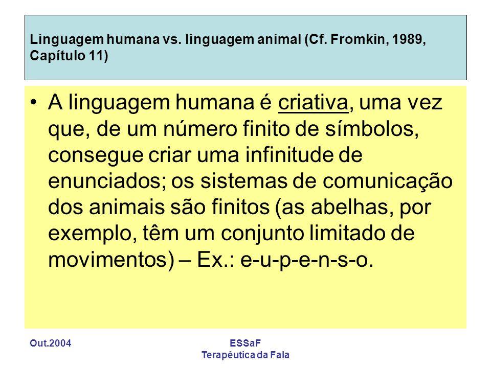 Out.2004ESSaF Terapêutica da Fala Linguagem humana vs. linguagem animal (Cf. Fromkin, 1989, Capítulo 11) A linguagem humana é criativa, uma vez que, d