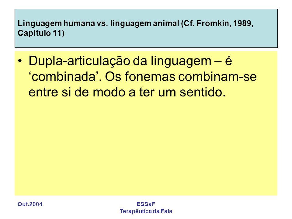 Out.2004ESSaF Terapêutica da Fala Linguagem humana vs. linguagem animal (Cf. Fromkin, 1989, Capítulo 11) Dupla-articulação da linguagem – é combinada.