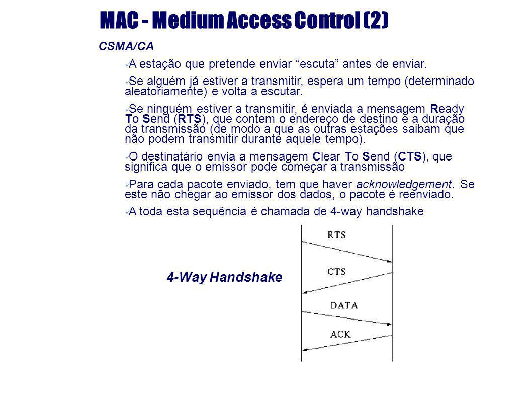 MAC - Medium Access Control (2) 4-Way Handshake CSMA/CA A estação que pretende enviar escuta antes de enviar. Se alguém já estiver a transmitir, esper