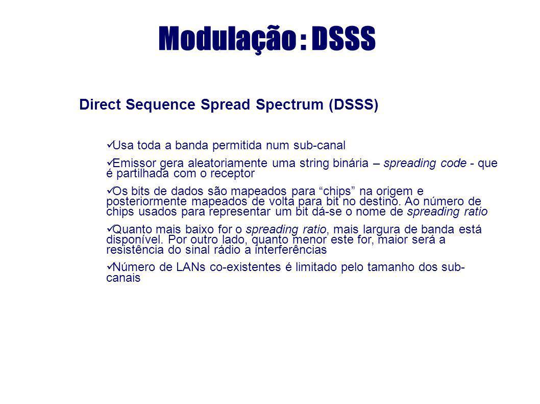 Modulação : DSSS Direct Sequence Spread Spectrum (DSSS) Usa toda a banda permitida num sub-canal Emissor gera aleatoriamente uma string binária – spre