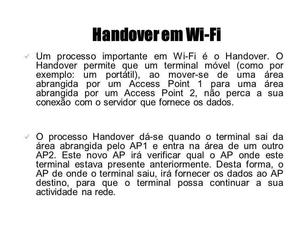 Handover em Wi-Fi Um processo importante em Wi-Fi é o Handover. O Handover permite que um terminal móvel (como por exemplo: um portátil), ao mover-se