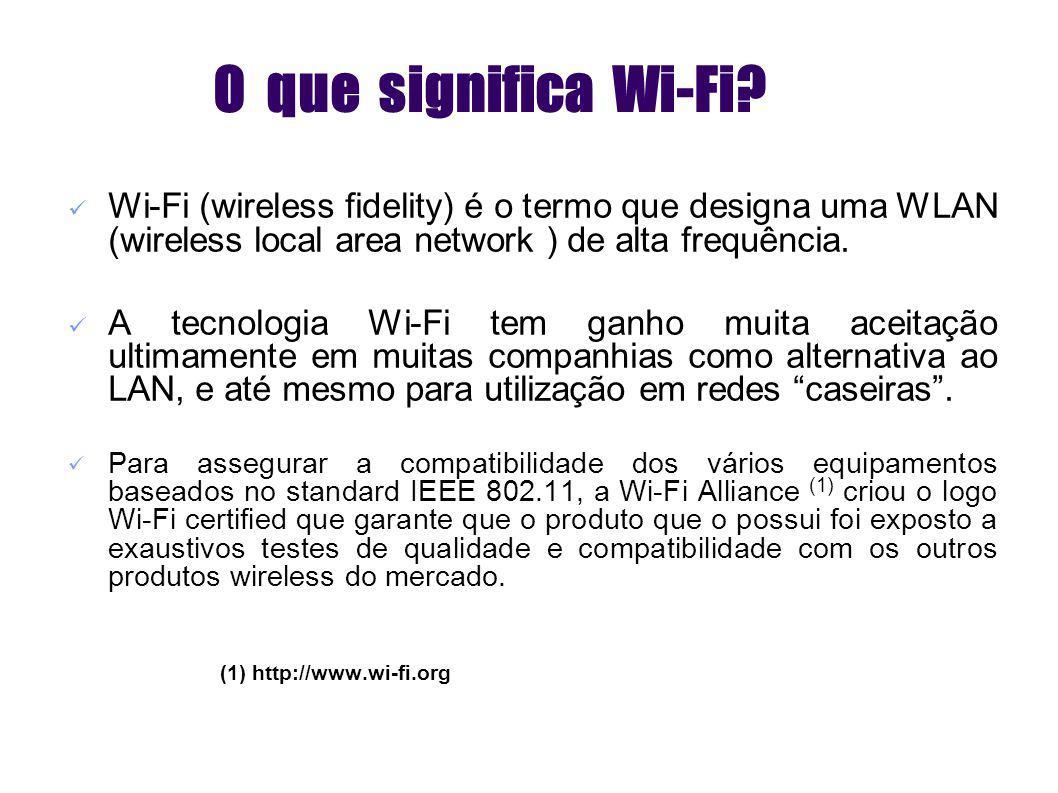 Orthogonal Frequency Division Multiplexing (OFDM) Patenteada em 1970 mas usada desde 1960 Divide cada canal (20 MHz no caso do 802.11a) da banda em ondas portadoras de baixa frequência (até 52 no caso do 802.11a) Todas estas ondas portadoras são ortogonais, o que significa que cada onda portadora não interfere com nenhuma das outras Ao fazermos esta divisão da banda em pequenos sub-canais, a sobreposição de canais é reduzida e por isso é possível ter várias LANs co-existentes Permite estabelecer links de elevada qualidade e robustez Para além de em Wi-Fi, OFDM é usado em Asymmetric Digital Subscriber Line (ADSL), European Telecommunications Standard Institute (ETSI), Digital Audio Broadcasting (DAB), Digital Video Broadcasting – Terrestrial (DVB-T) e HiperLAN2 Modulação : OFDM