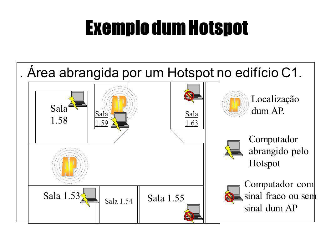 Exemplo dum Hotspot. Área abrangida por um Hotspot no edifício C1. Sala 1.58 Sala 1.53 Sala 1.59 Sala 1.63 Sala 1.54 Sala 1.55 Localização dum AP. Com