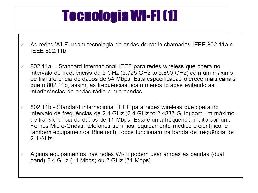 Tecnologia WI-FI (2) Recentemente têm começado a aparecer produtos baseados um novo standard IEEE: 802.11g – Oferece velocidades até 54 Mbps para curtas distâncias e funciona na frequência de 2.4GHz de modo a assegurar compatibilidade com o mais lento, mas mais popular 802.11b.