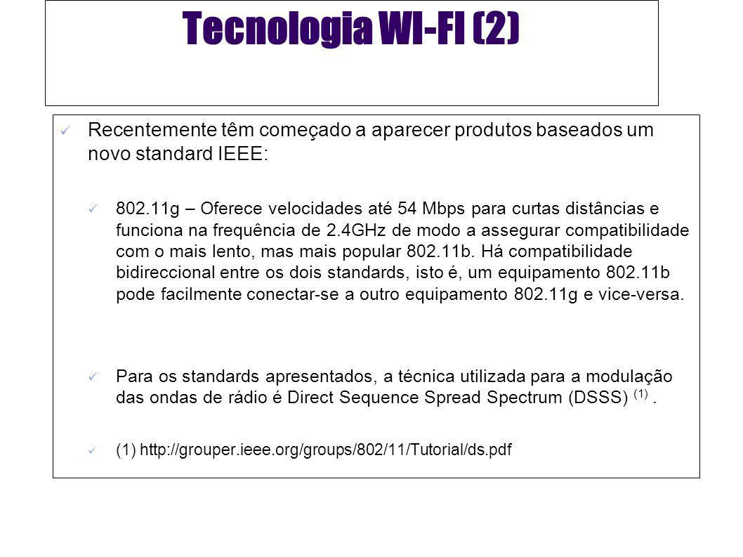 Tecnologia WI-FI (3) Padrão802.11b802.11g802.11a Canais de Frequência Rádio (RF) disponíveis 3 não sobrepostos 8 não sobrepostos * Banda de Frequência 2,4 GHz 5 GHz Velocidade máxima de transferência de dados 11 MbpsAté 54 Mbps54 Mbps Faixa típica de velocidades 30m a 11 Mbps 90m a 1 Mbps 15 m a 54 Mbps 45 m a 11 Mbps 12 m a 54 Mbps 90 m a 6 Mbps *Em alguns países os Canais RF disponíveis são 4.