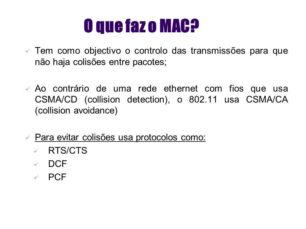 MAC - Medium Access Control (2) Métodos de acesso ao MAC O acesso ao MAC é controlado por funções de coordenação: DCF (Distributed Coordenation Function) usado por defeito com CSMA/CA opcional com RTS/CTS pode ser usado em modo infrastruture ou AdHoc PCF (Point Coordenation Function) uso opcional AP interroga os terminais de acordo com uma lista apenas usado em modo infrastruture DIFS (Distributed Inter Frame Space) SIFS (Short Inter Frame Space) PIFS (Point Coordenation Inter Frame Space)