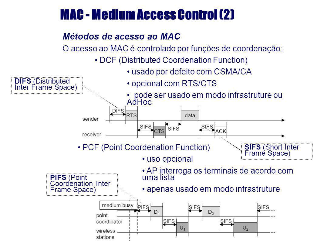 MAC - Medium Access Control (2) Métodos de acesso ao MAC O acesso ao MAC é controlado por funções de coordenação: DCF (Distributed Coordenation Functi