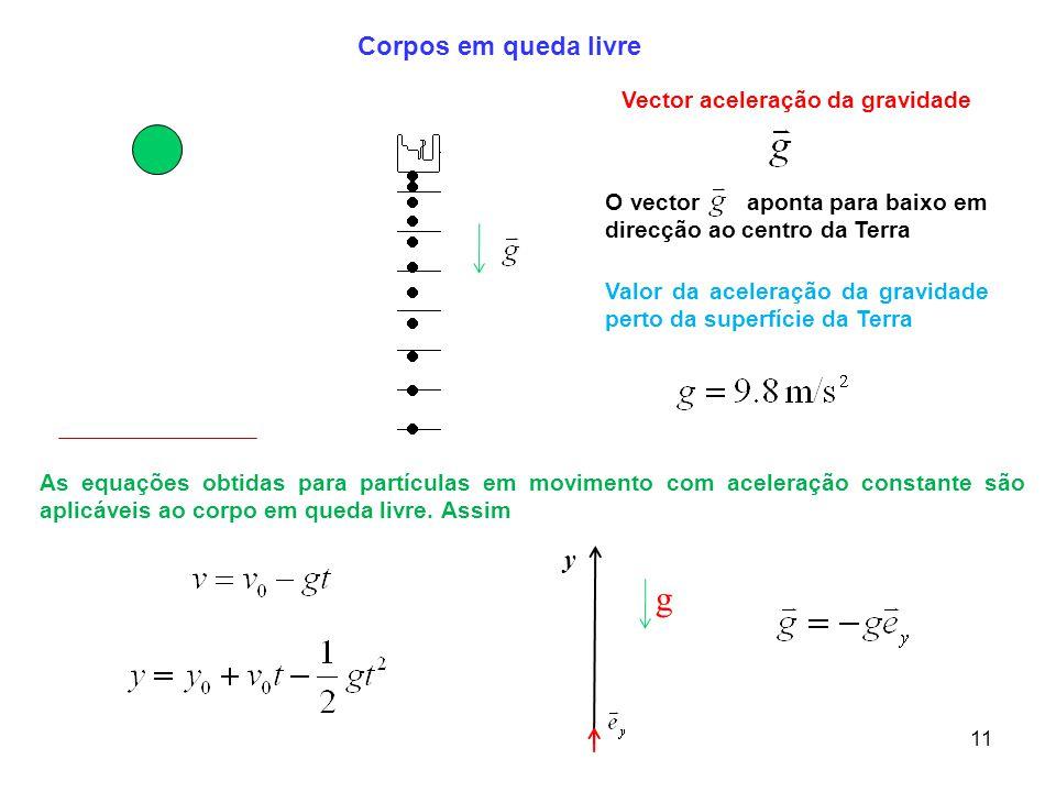 11 g Corpos em queda livre Valor da aceleração da gravidade perto da superfície da Terra O vector aponta para baixo em direcção ao centro da Terra As