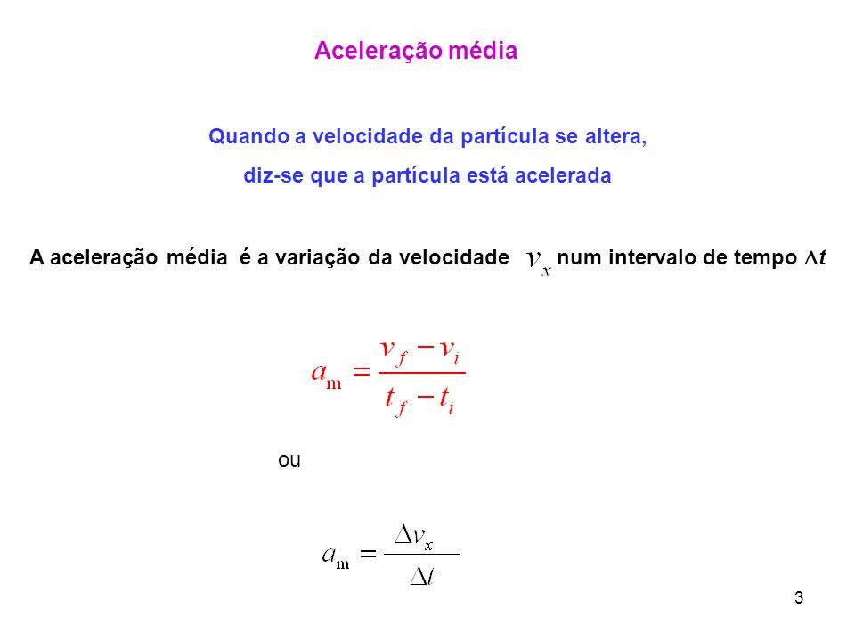 3 Aceleração média Quando a velocidade da partícula se altera, diz-se que a partícula está acelerada A aceleração média é a variação da velocidade num