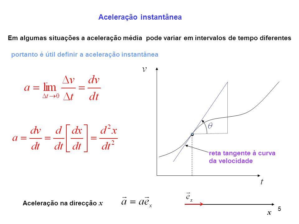 6 Movimento rectilíneo uniformemente variado Um movimento é uniformemente variado quando a aceleração é constante no instante t = 0 se a velocidade da partícula aumenta com o tempo o movimento é uniformemente acelerado se a velocidade da partícula diminui com o tempo o movimento é uniformemente retardado Substituindo obtemos Integrando fica é a velocidade da partícula é a aceleração da partícula é constante
